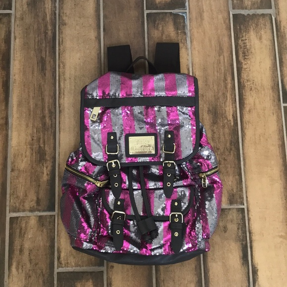 Juicy Couture Handbags - Juicy Couture Pink Stripe Sequin Backpack NWT